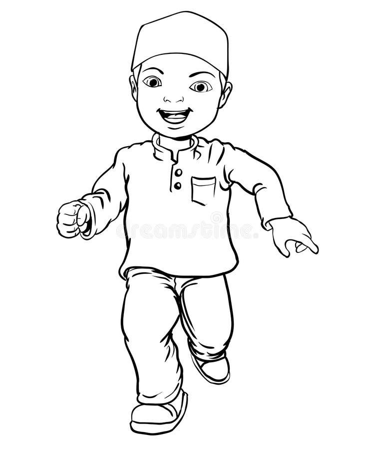 Handteckningen av den muslimska pojken gör spring - vektorillustration royaltyfri illustrationer