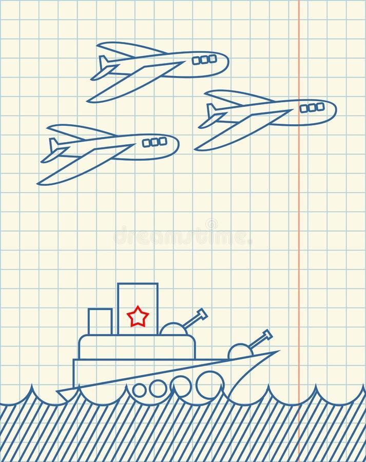 Handteckningen för krigsskeppet och för militärt flygplan i anteckningsbok skyler över brister fe royaltyfri illustrationer