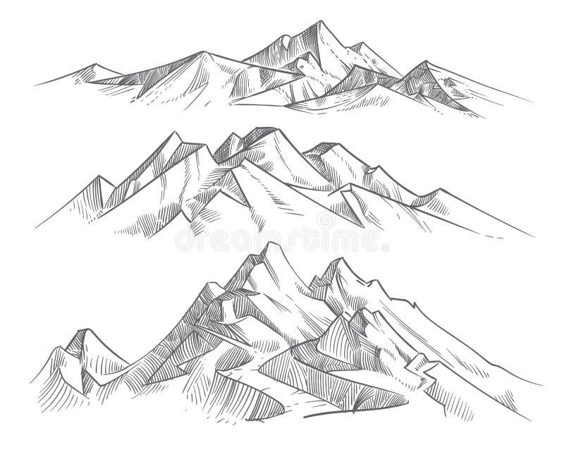 Handteckningsbergskedjor i gravyrstil Landskap för natur för vektor för tappningbergpanorama vektor illustrationer