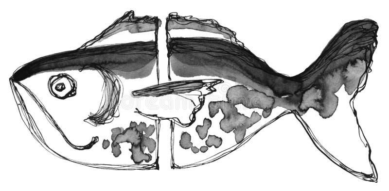 Handteckningsfärgpulver och svartvit abstrakt fisk för fjäder Texturera fläckar och band stock illustrationer