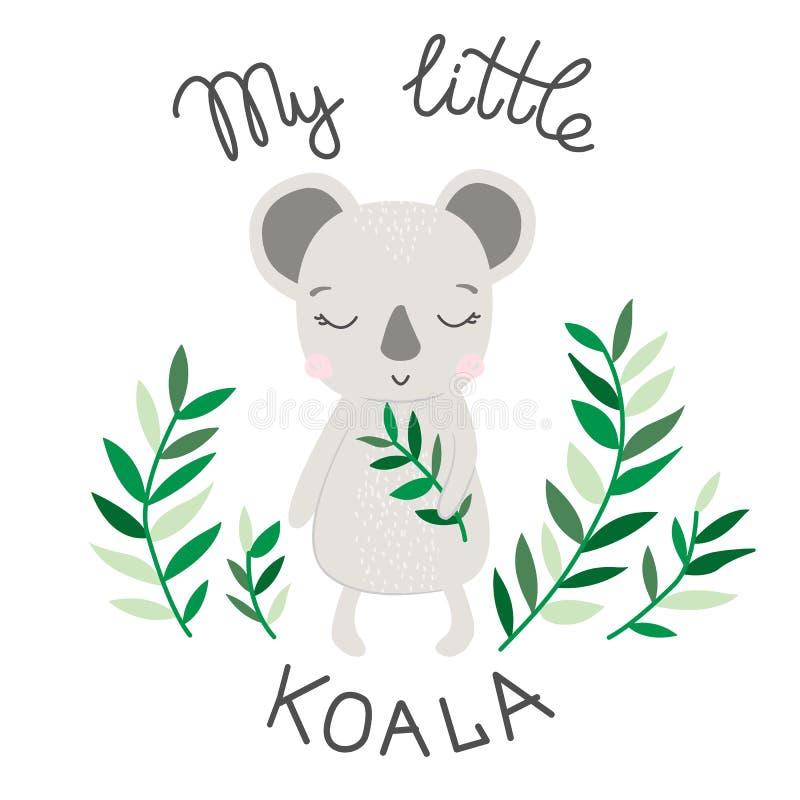 Handteckningsillustration av den söta koalavektorn stock illustrationer