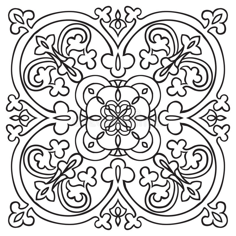 Handteckningsmodell för tegelplatta i svartvita färger Italiensk majolicastil royaltyfri illustrationer