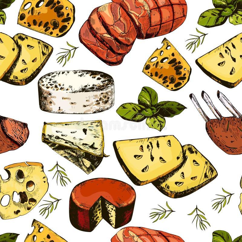 Handteckningsmodell med olikt ostar och kött stock illustrationer