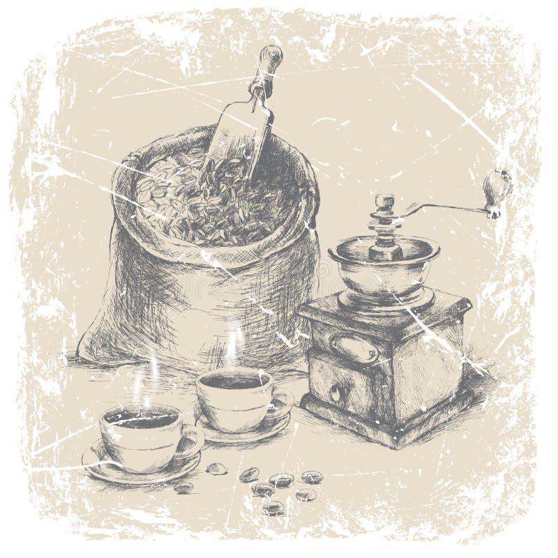 Handteckningspåse av kaffe, tappningkaffekvarnen och två koppar kaffe på tabellen, grungeram, monokrom Ilustratio vektor illustrationer