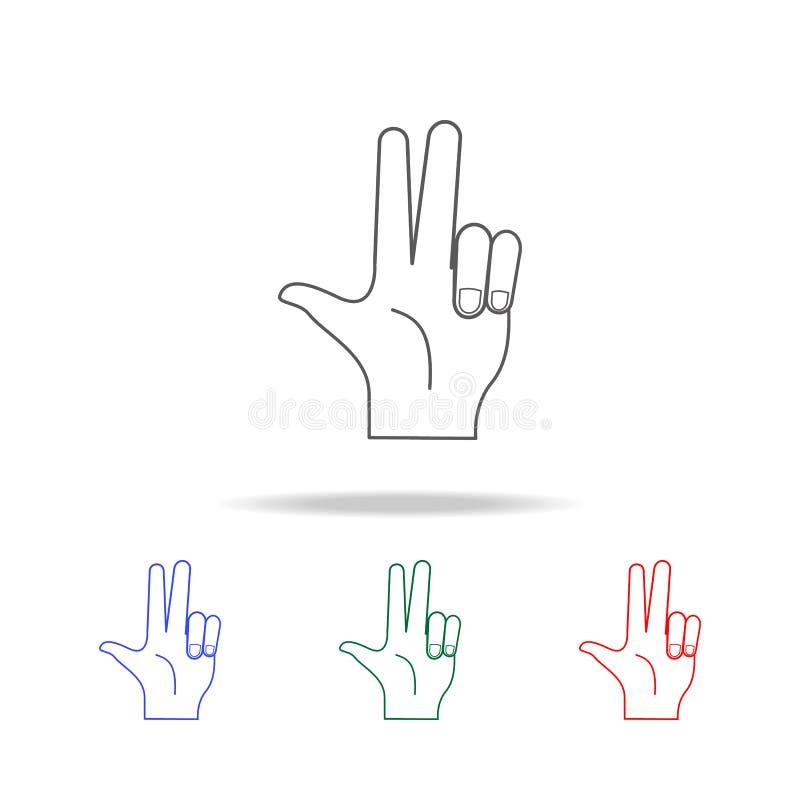 handteken twee vingers op pictogram Elementen van handen multi gekleurde pictogrammen Grafisch het ontwerppictogram van de premie stock illustratie