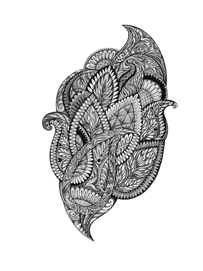 Handtekening, grafische beeld bloemenornamenten royalty-vrije illustratie