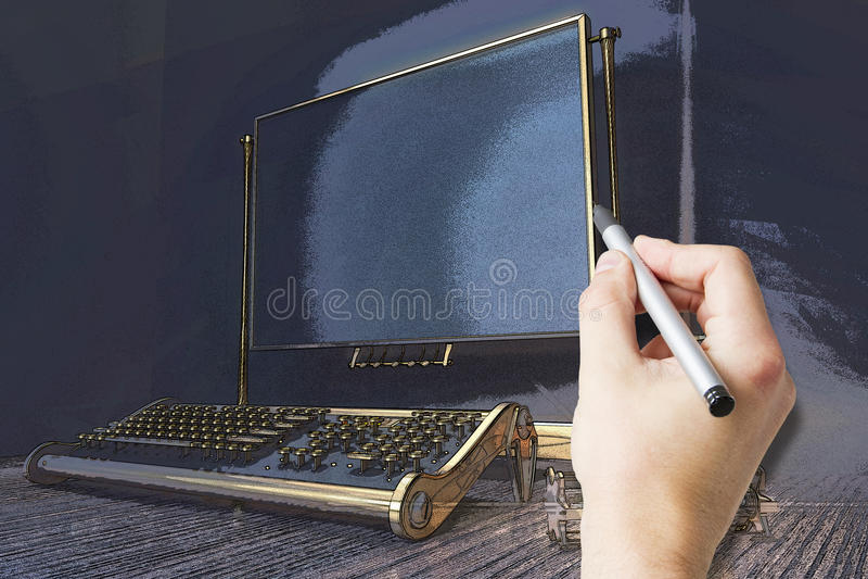 Handtekening het typen machine stock illustratie