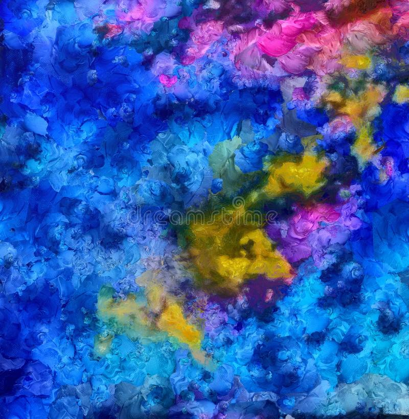 Handtekening in olieabstractie De textuurachtergrond van Grunge Uitstekend ontwerppatroon Creatief behang Waterverf gemengd art. stock illustratie