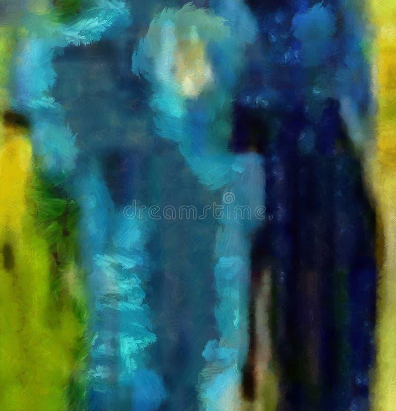 Handtekening in olieabstractie De textuurachtergrond van Grunge Uitstekend ontwerppatroon Creatief behang Waterverf gemengd art. vector illustratie