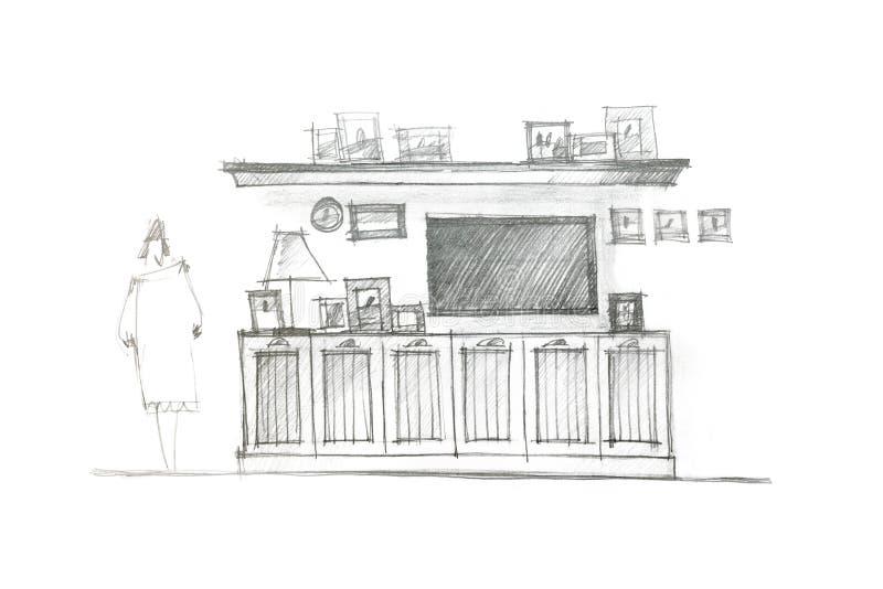 Handtekening van een vermaakmuur voor binnenlandse woonkamer royalty-vrije illustratie
