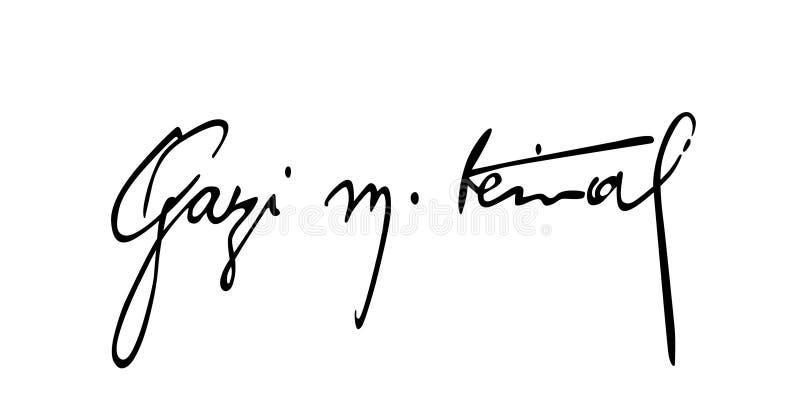"""Handtekening van Mustafa het de kemal ataturk/van de het dossier†""""voorraad illustratie van het afficheontwerp dossier van de de stock illustratie"""