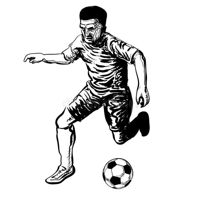 Handtekening van Voetballer die een bal schoppen vector illustratie