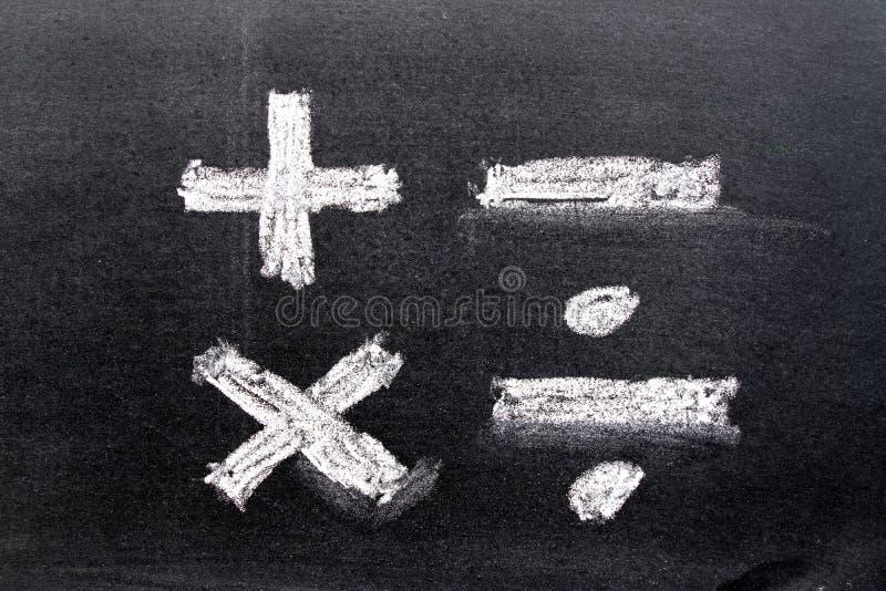 Handtekening van wit krijt in de vorm van het wiskundesymbool royalty-vrije stock afbeeldingen