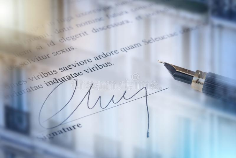 Handtekening; veelvoudige blootstelling stock foto