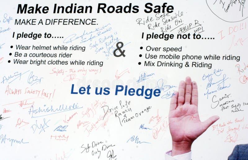 Handtekeningscampagne voor verkeersveiligheid, Hyderabad, India royalty-vrije stock foto