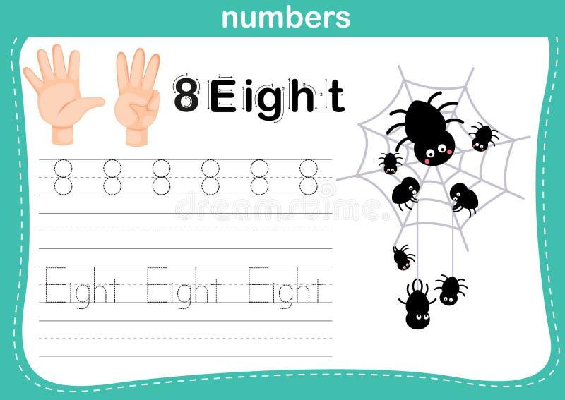 Handtelling vinger en aantal, Aantaloefening stock illustratie