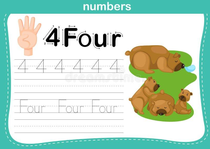 Handtelling vinger en aantal, Aantaloefening vector illustratie