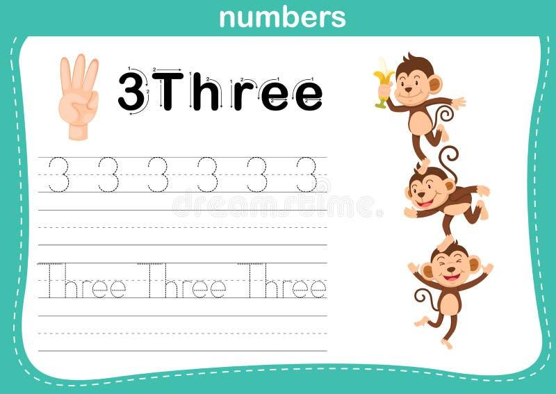 Handtelling vinger en aantal, Aantaloefening royalty-vrije illustratie