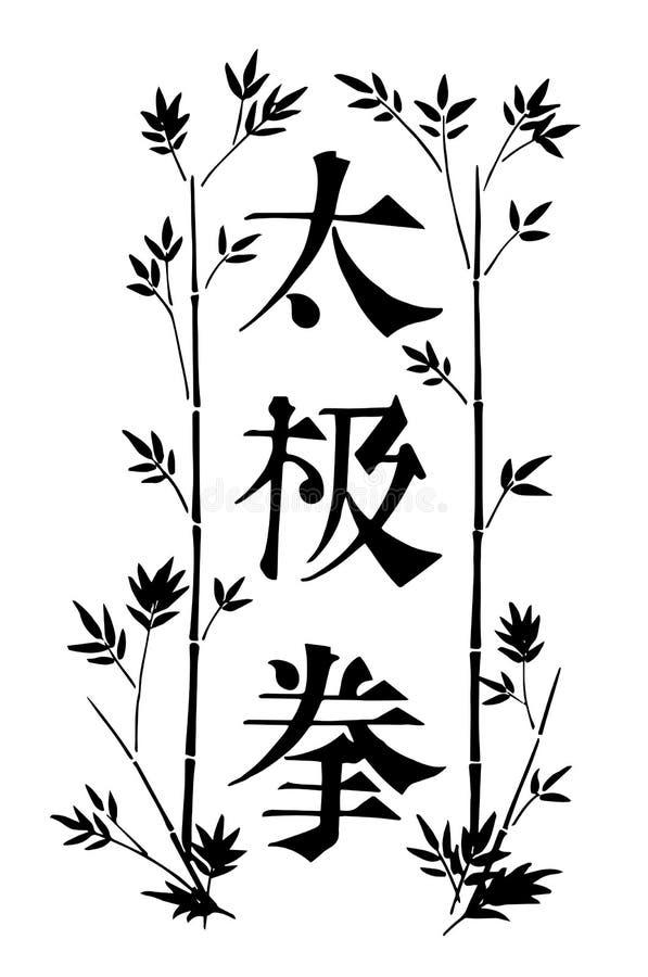 Handthemenorientierte Fahne gezogenen schwarzen Tintenvektor tai-Chi mit dekorativer Grenze mit Blättern und Bedeutung der chines lizenzfreie abbildung