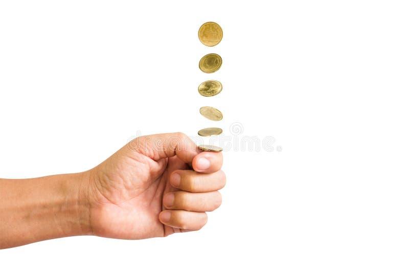 Handtik een muntstuk royalty-vrije stock afbeeldingen