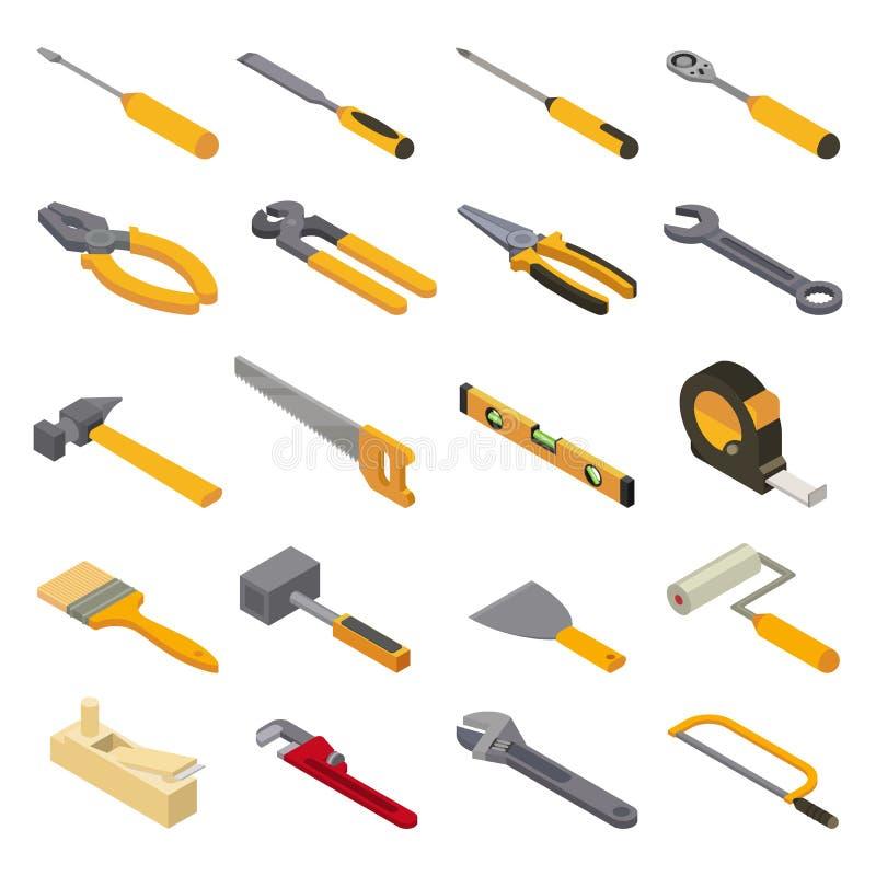 Handtools конструкции вектора ручного резца бьют плоскогубцы и отвертку молотком мастерской иллюстрации toolbox равновеликой иллюстрация вектора