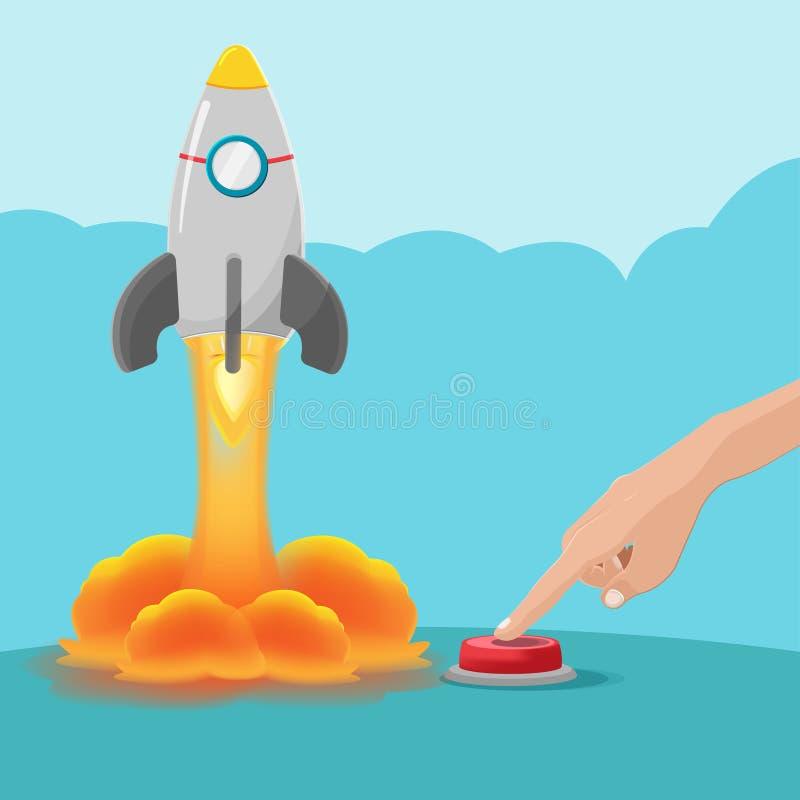Handtryckknappstart Rocket Vector arkivbild
