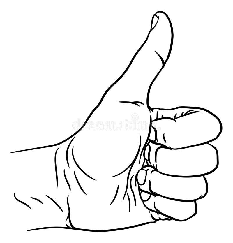 Handtummar gör en gest upp tummen ut fingrar i näve stock illustrationer