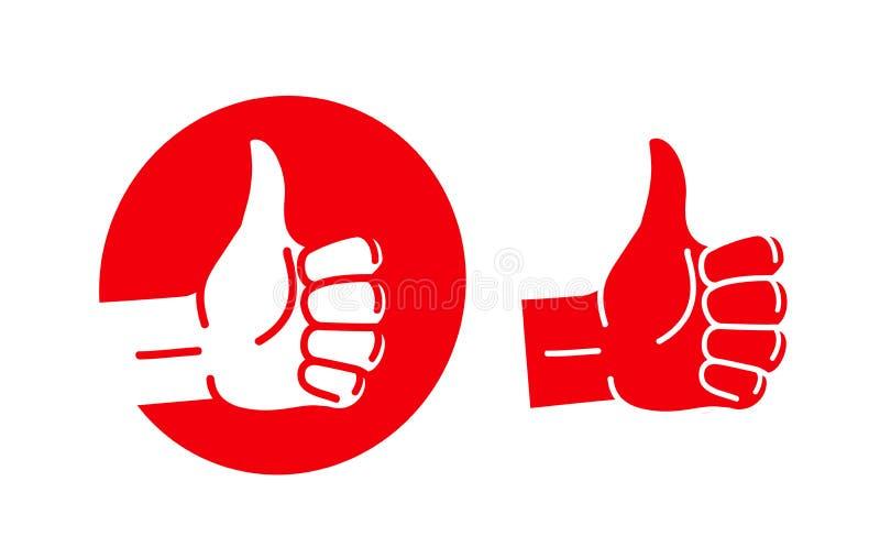 Handtumme upp, logo Mest bra kvalitets- symbol eller symbol också vektor för coreldrawillustration vektor illustrationer