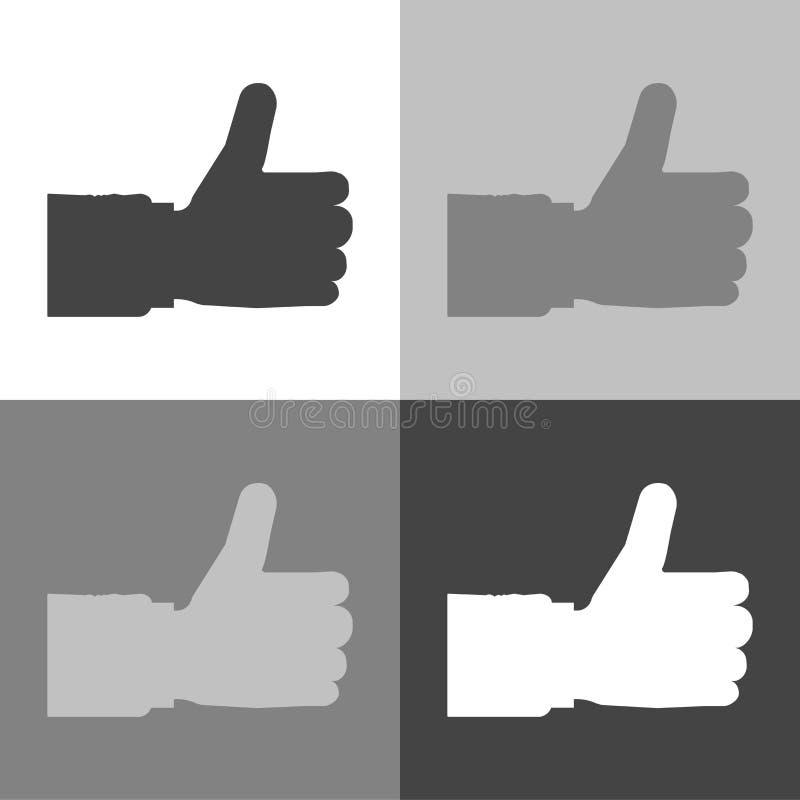 Handtumme upp symbolslägenhet Ställ in vektorsymbolen på vit-grå färg-svart sänka vektor illustrationer