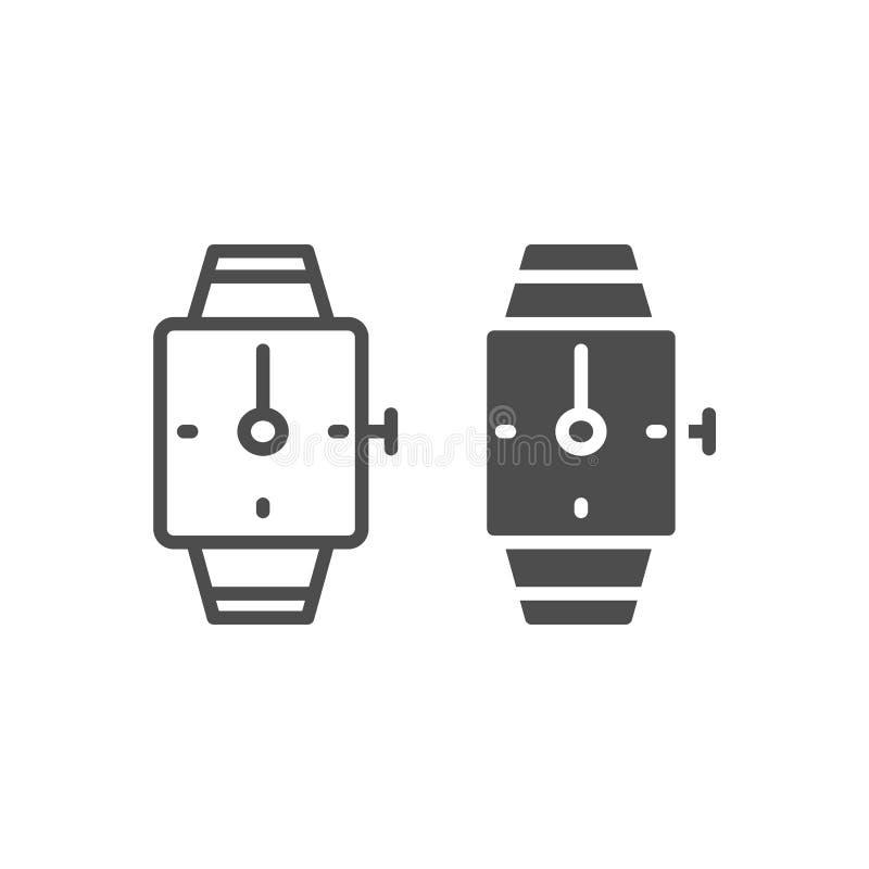 Handuhrlinie und Glyphikone Quadratische Armbanduhrvektorillustration lokalisiert auf Weiß Armbanduhr-Entwurfsart lizenzfreie abbildung