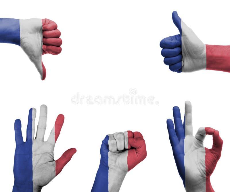 Handuppsättning med flaggan av Frankrike royaltyfri fotografi