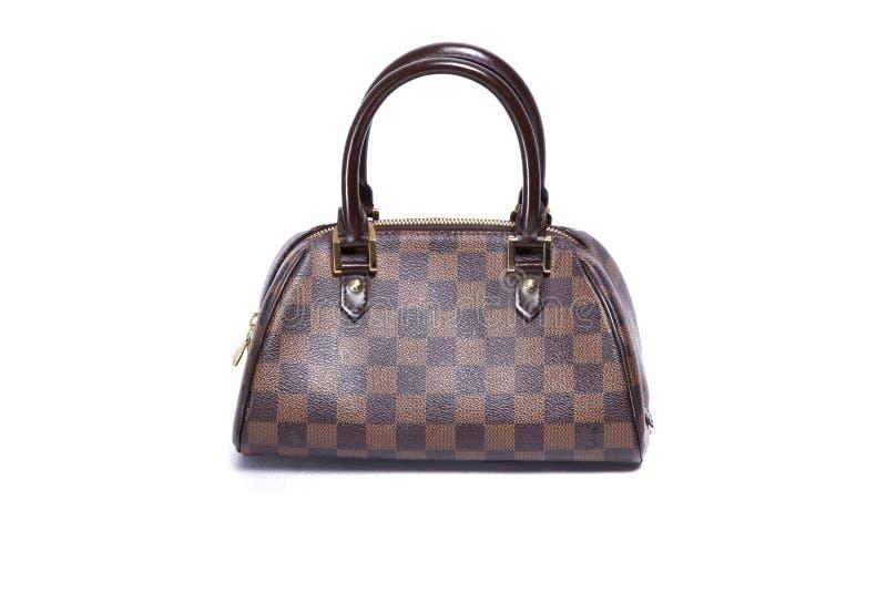 Handväska för kvinnabruntläder royaltyfri foto
