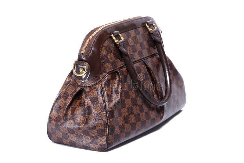 Handväska för kvinnabruntläder royaltyfri bild