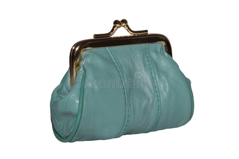Handväska för mynt En läderhandväska som isoleras på vit bakgrund arkivbild