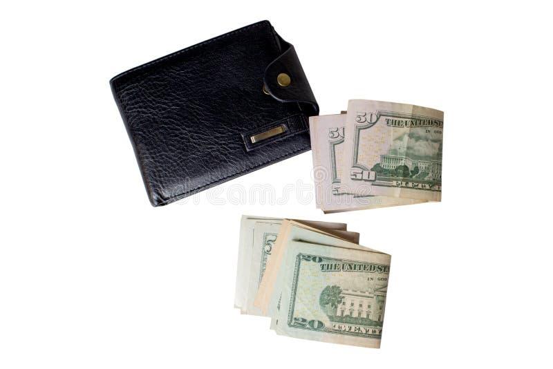 Handväska för svart man` s med pengar arkivfoton