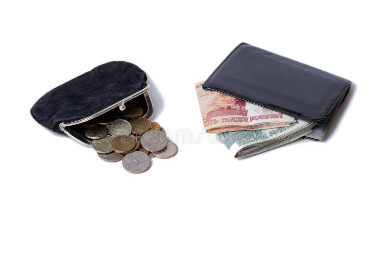 Handväska med mynt och plånbok med kassa arkivfoton