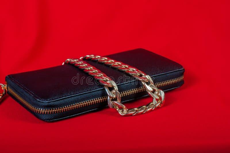 Handväska och en halsband på röd bakgrund royaltyfria bilder