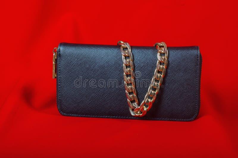 Handväska och en halsband på röd bakgrund royaltyfria foton