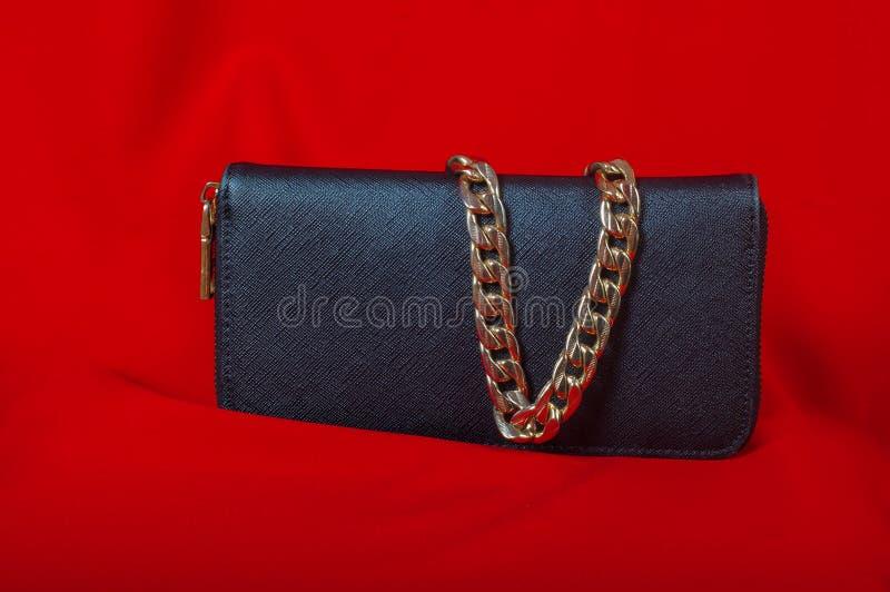 Handväska och en halsband på röd bakgrund royaltyfri fotografi