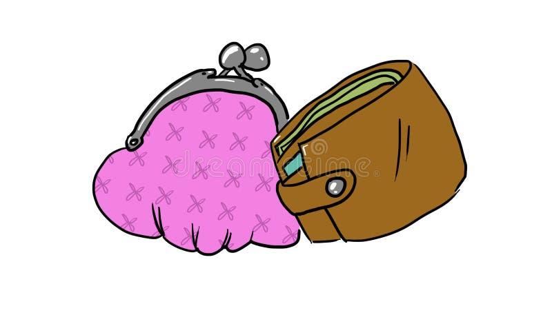 Handväska och plånbok stock illustrationer