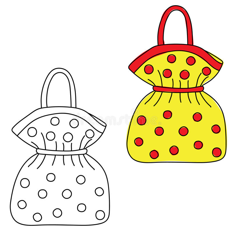 handväska Räcka det utdragna klottret Svartvit och kulör version stock illustrationer