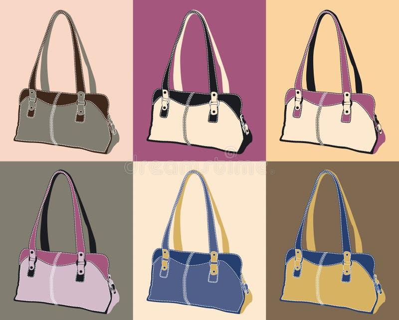 handväskaläder stock illustrationer
