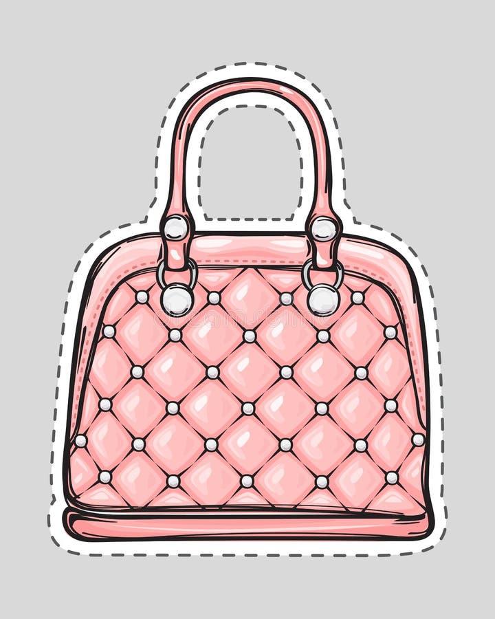 Handväskalapp med handtaget, gem som isoleras i lägenhet stock illustrationer