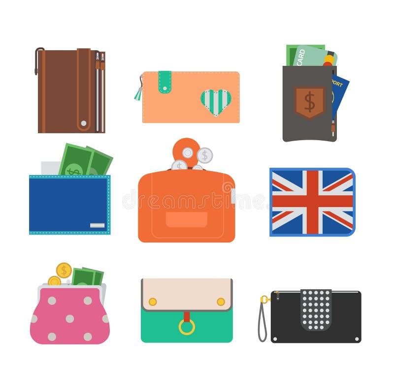 Handväskaplånbokvektor royaltyfri illustrationer