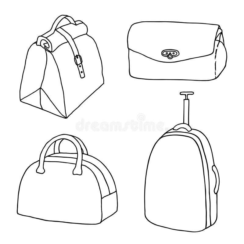 Handväskor lopp hänger löst, damer som påsar ställer in Resväska bagage, koppling, portföljhandväska stock illustrationer