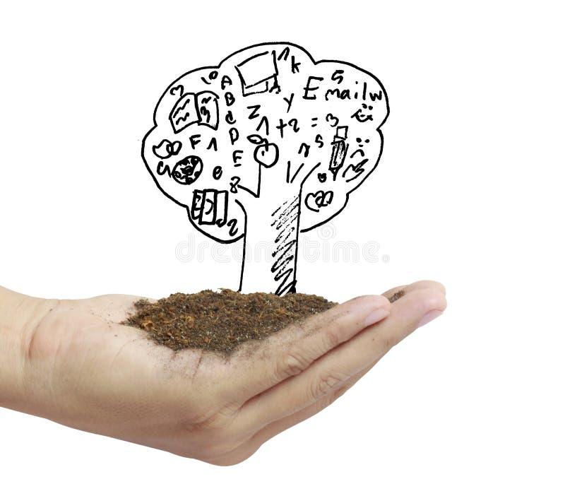 Handväxt, träd royaltyfri illustrationer