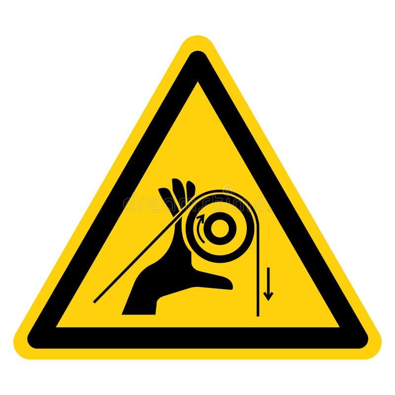 Handverwicklungs-Rollen-Symbol-Zeichen-Isolat auf wei?em Hintergrund, Vektor-Illustration stock abbildung