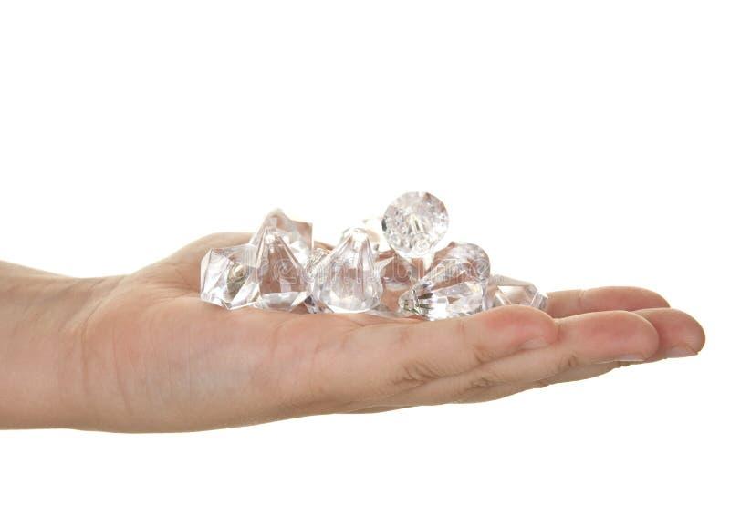 Handvol diamanten stock fotografie
