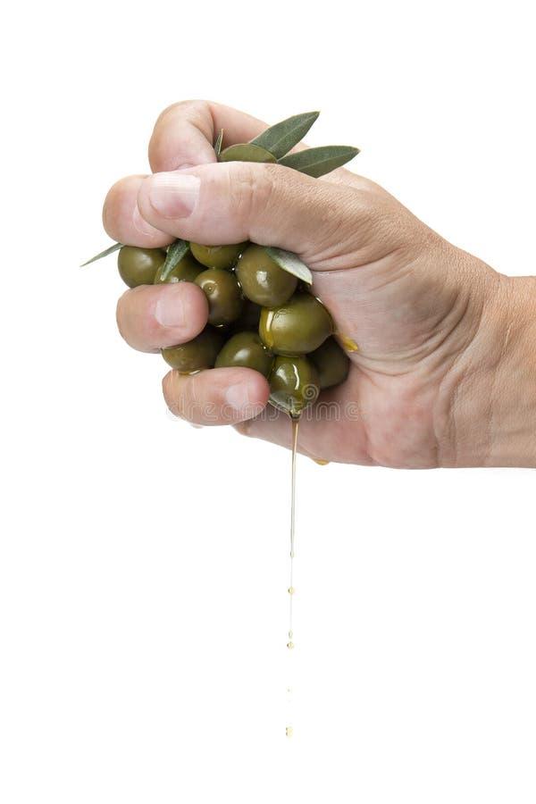 Handvoll Oliven stockfotografie