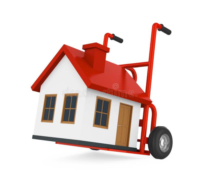 Handvrachtwagen met Huis Geïsoleerd Bewegend Huisconcept stock illustratie